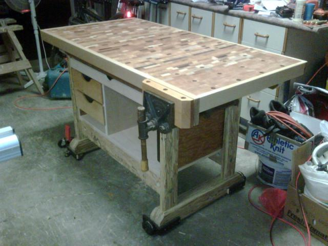 Newly Finished Endgrain Workbench Canadian Woodworking And